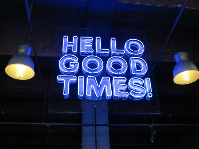 Hello Good Times All Star Lanes Sign